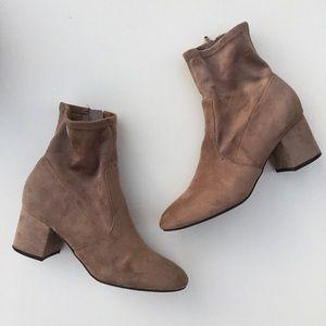 Unisa Chunky Heel Ankle Sock Boots Beige 7
